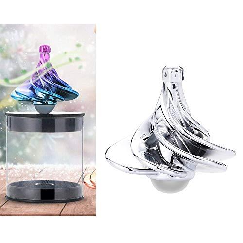 Angelay-Tian Luftstrom Kreisel, Wind Gyro, Wind Blow Turn Gyro Desktop Dekompressionsspielzeug, Desktop Gyro, Stressabbau Spielzeug (Color : Silver)