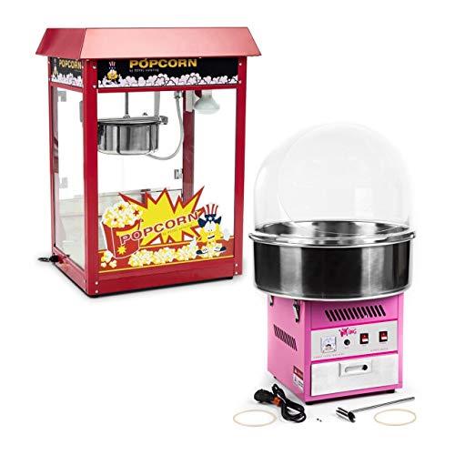 Royal Catering RCPR-16E-SET Popcornmaschine 1.600 W Zuckerwattemaschine 1.200 W Spuckschutz Popcornautomat