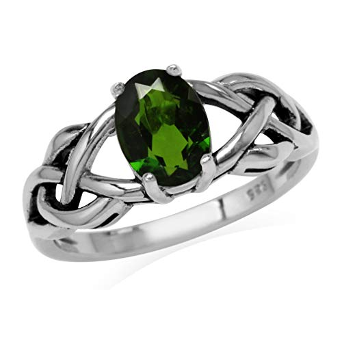 Silvershake 1.15ct. Green Chrome Diopside 925 Sterling Silver Celtic Knot Solitaire Ring Size 6