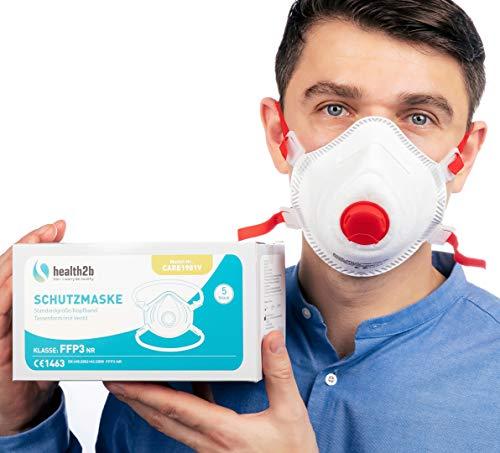 Mascarilla health2b FFP3 con marcado CE [5 unidades] CE1463 mascarilla respiratoria mascarilla con válvula
