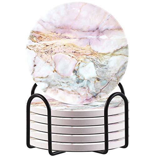 HAOCOO Getränkeuntersetzer rund mit Halter (6er Set), saugfähige Keramikuntersetzer mit rutschfestem & kratzfestem Korkboden, Home Kitchen Office (Pinker Marmor)
