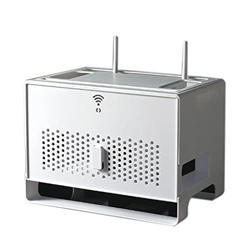 Almacenamiento De Doble Capa Inalámbrico WiFi Enrutador Caja De Almacenamiento Sala De Estar Escritorio Alambre Acabado Rack TV Decodificador (Color : Blanco, Size : 31.4 * 21 * 23cm)