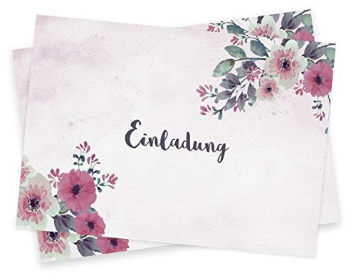 Einladungskarten blanko Set (20 Klappkarten & Umschläge) Einladung zur Hochzeit, Taufe, Geburtstag, Kommunion etc. - im Vintage Blumen Design