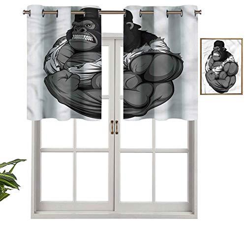 Hiiiman Short Curtains Grommet Top Elegant Panels Animal Athlete Gorilla, Set of 2, 42'x24' Decoration for Bathroom/Bedroom/Living Room