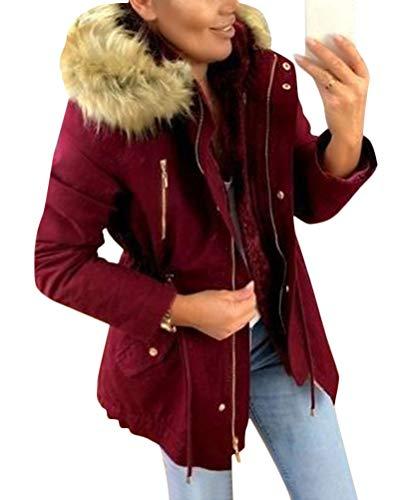 Minetom Damen Warm Verdicken Winterjacke Mantel Mit Plüsch Kapuze Winddicht Tasche Reißverschluss Kurze Parka Jacke Outerwear Top Weinrot 40