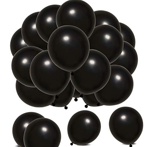 Elecrainbow 100 Count 320 Grams Thickened Black Balloons for Labor Day, Easter, Graduation, Anniversary, Retirement, Remembrance, Memorial,12 Inches