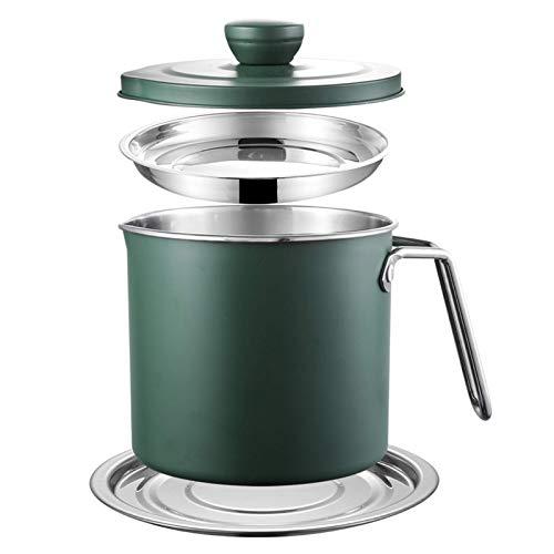 YVX Recipiente de Grasa de Tocino con colador, Separador de Grasa Recipiente de Aceite de Cocina Lata de Grasa para Cocina Aceite de Cocina Usado Aceite para freír Grasa 1.4L / 1.7L, 1.7L