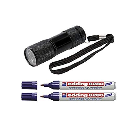 UV-Marker Securitas e-8280, Rundspitze 1,5-3mm, farblos + UV-Lampe mit 9 LED