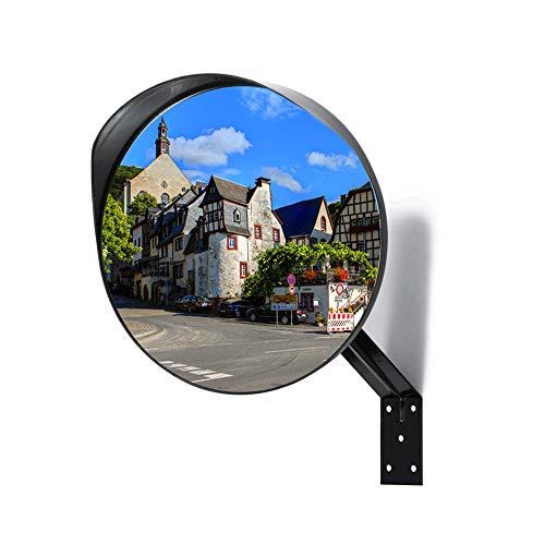 Kertou Espejo de seguridad convexo, Elimina las Esquinas Ciegas, para Carreteras, Tiendas y Aparcamientos, Diámetro 30 cm, con soporte de fijación ajustable
