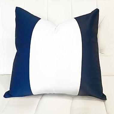 """DriftAway Mia Decorative Nautical Navy and White Stripe Square Sofa Throw Pillow Cover (20  x20"""", Single, White Middle Stripe)"""