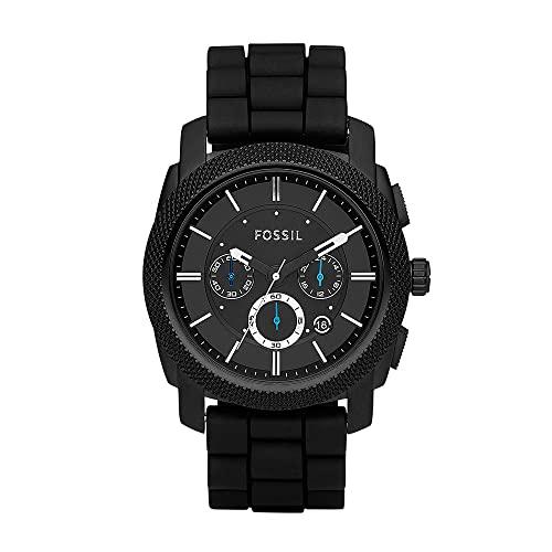 Fossil Men's Machine Chrono Quartz Silicone Chronograph Watch, Color: Black (Model: FS4487IE)