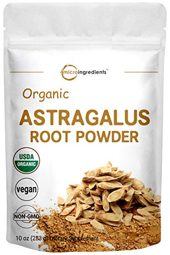 Micro Ingredients Organic Astragalus Root Powder, 10 Ounce, Pure Astragalus Supplement, Supports Cardiovascular Health and Immune System, Non-GMO and Vegan Friendly