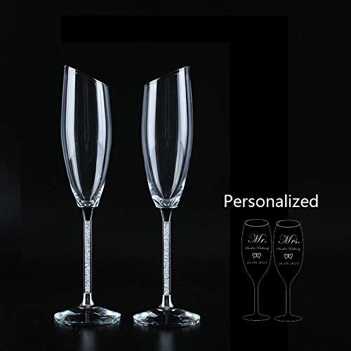 HUANGRONG Bierglas Schräg Hochzeit Gläser Personalisieren Champagne Flöten Goldkristall Partei Glasbecher Hochzeitsdekoration (Color : SlantWhitePersonaliz)
