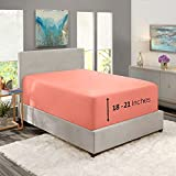 """Nestl Fitted Sheets Twin XL Size – Premium 1800 Microfiber Fitted Bed Sheets – 21"""" Deep Pocket Hypoallergenic and Fade Resistant (Misty Rose)"""