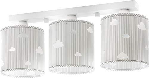 Dalber Deckenlampe Kinder 3-Lichter wölken Sweet Dreams Grau, Polypropylen, E27, 1 W, 51 x 15 x 20.5 cm