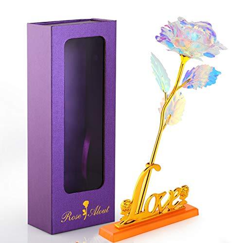 WD&CD Flor de Rosas Artificiales con Base Love, con Caja de Regalo Mejor Regalo, Decor Romántica para Siempre para el día de la Madre, día de San Valentín, Aniversario Bodas, Rojo 🔥