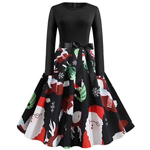 Saihui_Women Dress Robe de Noël plissée à Dos Nu pour Femme Motif Père Noël Renne et élan - Noir - XL