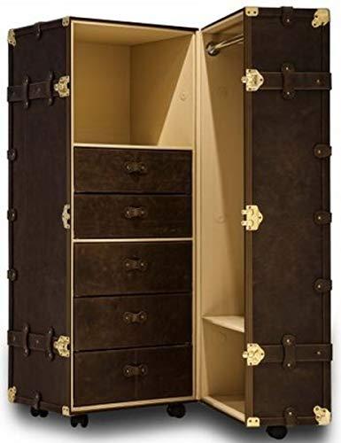 Casa Padrino Echtleder Kofferschrank mit Rollen Dunkelbraun/Gold 73 x 56 x H. 137 cm - Wasserdichter Schrankkoffer im Vintage Stil Qualität