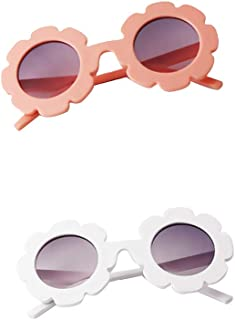 Perfeclan 2 Pack Kids Boy Girl Polarized Sunglasses, Toddler Baby Flower Shades Goggles Glasses UV Protection - Pink and White