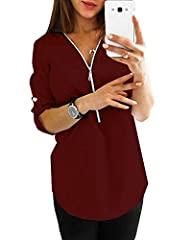 YOINS Women Casual V Neck Chiffon Tops Long Adjustable Sleeve Shirts Zip Sexy Loose Blouses A-wine Red-new XXL #1