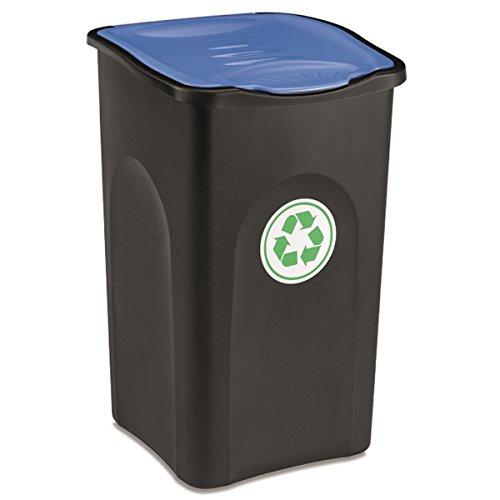 Großer Mülleimer 50 Liter mit blauem deckel robust und abwaschbar • Mülleimer, Papierkorb, Abfalleimer, Abfallbehälter, Mülltonne, Eimer, Mülltrennung, Gesamtgröße: ca. 37x37x56cm, Gewicht: ca 1,5kg.