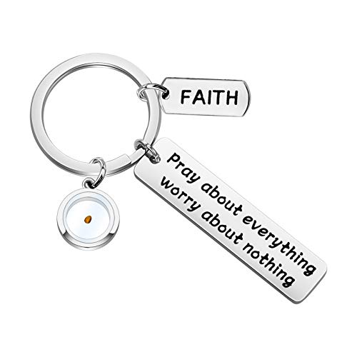 KEYCHIN Bible Verse Bracelet Prayer Gift Mustard Seed Bracelet Faith Gift Religious Jewelry Christian Gift Pray About Everything Worry About Nothing Bracelet (Pray About seed keychain)