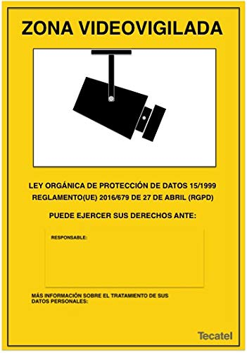 Cartel de zona videovigilada PVC intemperie 30x21cm