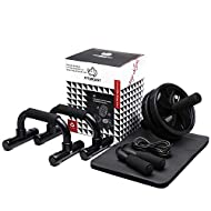 【3-IN-1 HOME WORKOUT EQUIPMENT】: Dual wheel abdominal exercise roller set with push-up bars, skipping rope and knee pad is ideal for anyone wants to strengthen your core strength and shape better figure. The ab exercise equipment can help stretch and...