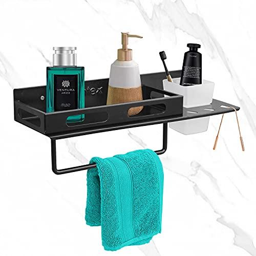 Plantex Premium GI Metal 3in1 Multipurpose Bathroom Shelf/Rack/Towel Hanger/Tumbler Holder/Bathroom Accessories (15 x 5 Inches-Matt Black)