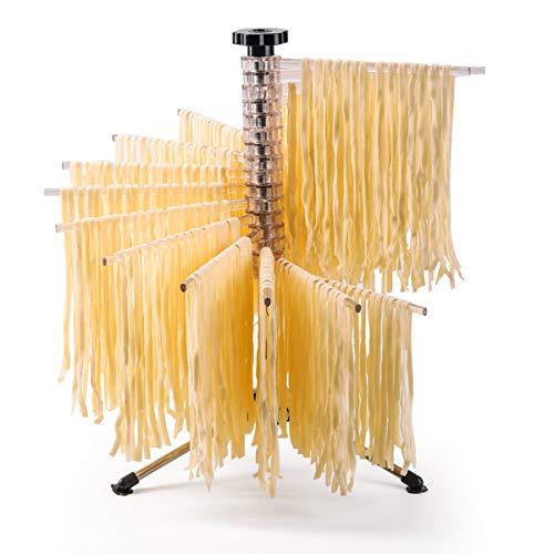 Pasta secado Panel de acero inoxidable Estable soporte no pegajoso plástico plegable secado Polo de fideos de pasta fresca Tendedero Secador de almacenamiento para la cocina casera (Transparent)