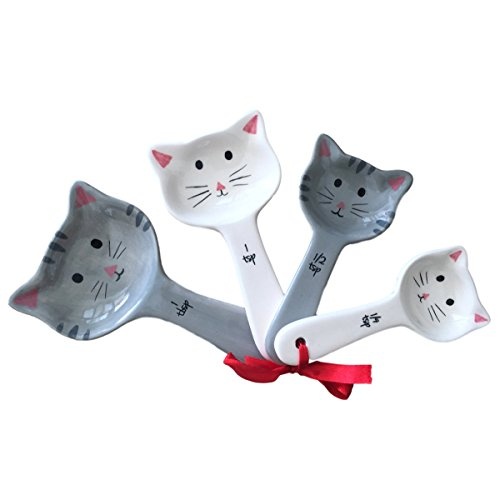 Novelty Ceramic Cat Measuring Spoons - Labeled Measuring Spoon Set - Adorable Kitty Measuring Spoons