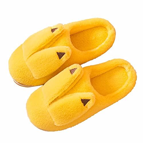 URIBAKY - Zapatillas para mujer (algodón, suela suave, espuma con memoria antideslizante, zapatillas de interior y exterior cálidas), amarillo, 38.5 EU