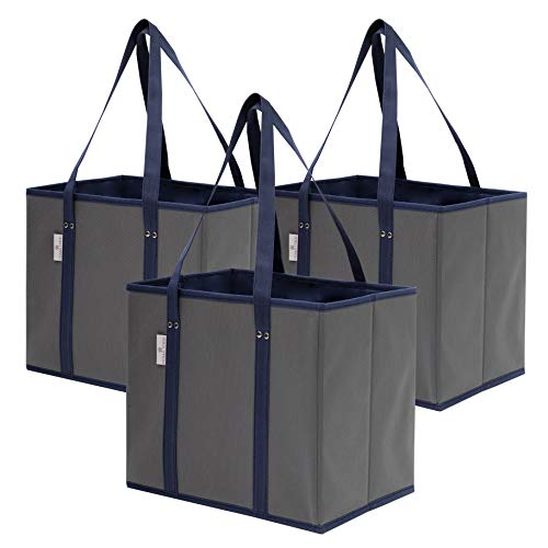 Premium 3 Pack Reusable Grocery Shopping Box Bags | Large Sturdy Durable Tote Bag Set for Groceries Trunk Organizer and Home Storage | Foldable with Stylish Design and Colors Grey/Navy