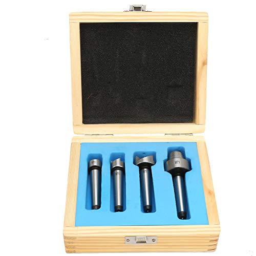 Espuela de torneado de torno de madera para herramienta de torneado de madera, juego de centro de taza de diente recto de torno de madera de 4 piezas MT1 / MT2(MT1)