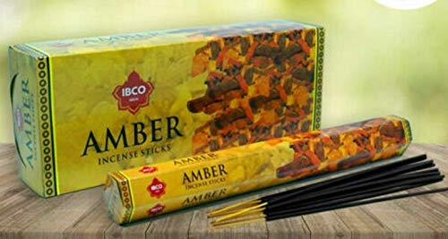 IBCO - Incenso profumato all ambra | 6 confezioni da 20 bastoncini | Made in India
