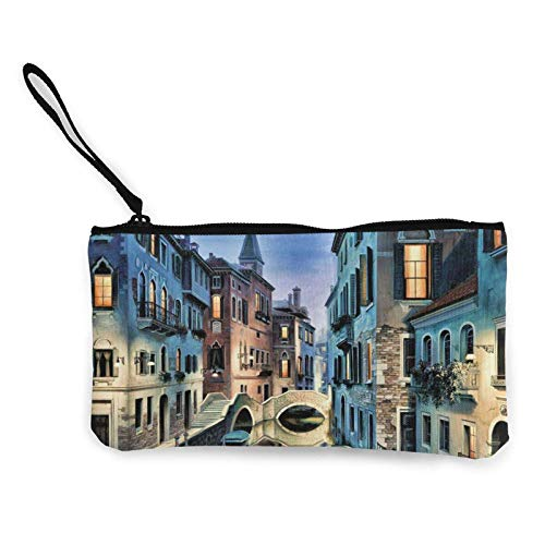 Beautiful City Pattern Canvas Cash Coin Purse, Zipper Wristlets Purse Wallets, Makeup Bags for Women and Girls