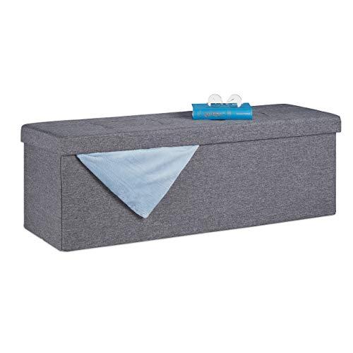 Relaxdays Sitzbank, mit Stauraum, faltbar, gepolstert, mit Trennwand, 130 l, Flur, Schlafzimmer, Truhenbank, dunkelgrau