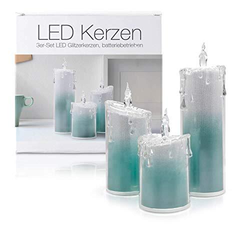 """LED Universum - LED Glitzer Kerzen 3er Set""""Liza"""" Acryl für 3 AAA Batterien Deko Candle mit Glitzereffekt kaltweiß und warmweißem Flackereffekt stylische Dekoration (3er Set Türkis)"""