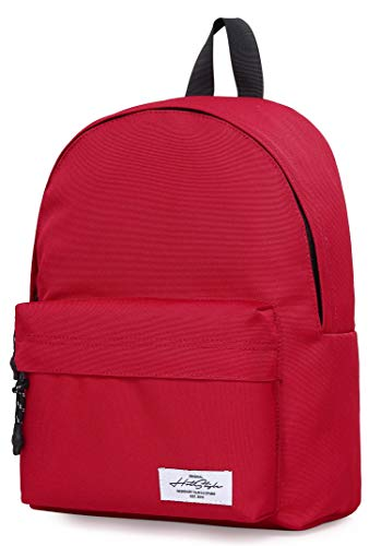 "HotStyle SIMPLAY+ 12"" Small Backpack for Girls & Women, Mini Classic Bookbag Cute for Everyday, Plain, Red"