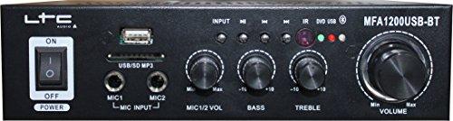 LTC MFA1200USB-BT-BL - Amplificador para karaoke (estéreo, 2 x 50 W), color negro