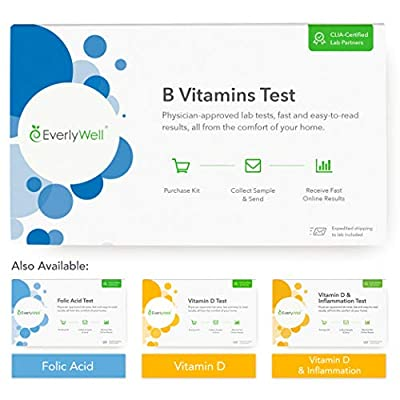 Everlywell B Vitamins Test - at Home - CLIA-Certified Adult Test - Accurate Blood Analysis Within Days - Measures Essential B Vitamin Levels and Checks for Deficiencies - Not Available in NY, NJ, RI