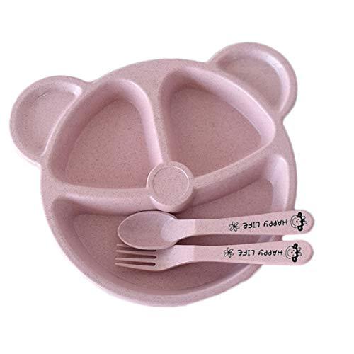 LOKKSI - Juego de vajilla de cumpleaños para niños, 3 piezas, cuchillo y tenedor, juego de vajilla para niños, día de Navidad, niños, vajilla, color rosa