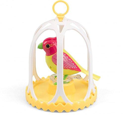 DigiBirds 88295 - Interaktiver Spielzeugvogel mit Käfig und Pfeifring, ca. 13 x 11 cm, sortiert