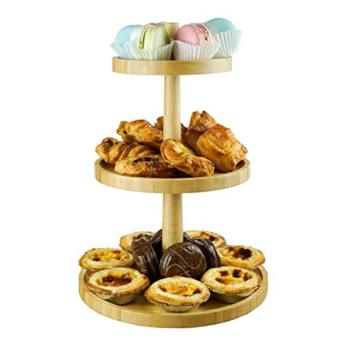 [AMMAKE]Easy to Assemble 3 Tier Cupcake Stand/ Wooden Cake Holder / Dessert Plates Mini Cakes Fruit Candy Display Tower for Birthday Tea Party Baby Shower Serving Tray
