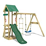 WICKEY Aire de jeux Portique bois TinyCabin avec balançoire et toboggan vert, Maison enfant exterieur avec bac à sable, échelle d'escalade & accessoires de jeux