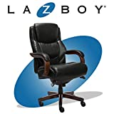 La-Z-Boy Delano Big & Tall Executive Office Chair | High Back Ergonomic Lumbar Support, Bonded Leather, Black with Mahogany Wood Finish | 45833A