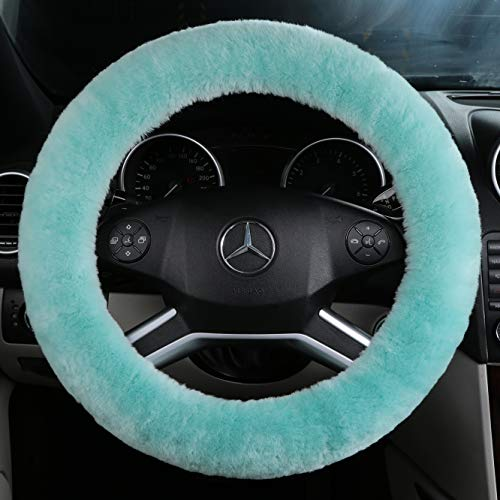 ANDALUS Car Steering Wheel Cover, Fluffy Pure Australia Sheepskin Wool, Universal 15 inch (Mint Green)