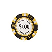 モンテカルロ 14g カジノ ポーカーチップ ラウンド用品 10枚セット (ブラック)