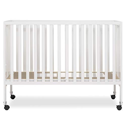 Dream On Me Quinn Full-Size Folding Crib I Removeable Wheels I Modern Nursey I Adjustable Mattress Support I Patent Folding System