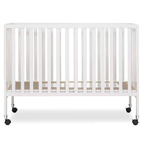Dream On Me Quinn Full-Size Folding Crib I Removeable Wheels I Modern Nursey I Adjustable Mattress Support I Patent Folding System